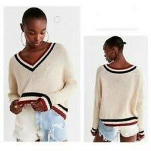 Urban Outfitters Varsity Cropped Knit Sweater